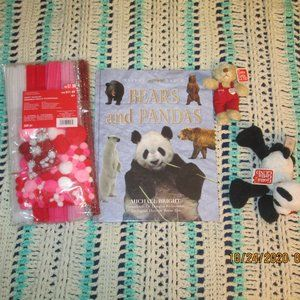 🧸2Teddy Bears lot, coffee table book & craft kit